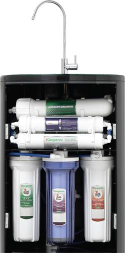 Cấu tạo bên trong với các lõi lọc của máy lọc nước KG100HC.