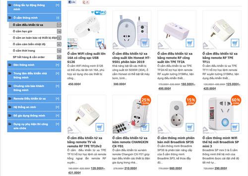 Người dùng có thể dễ dàng tìm mua các loại ổ cắm thông minh trên các trang trực tuyến với mẫu mã phong phú.