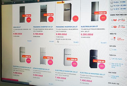 Tủ lạnh hàng trưng bày được bán nhiều với mức giá giảm lớn.